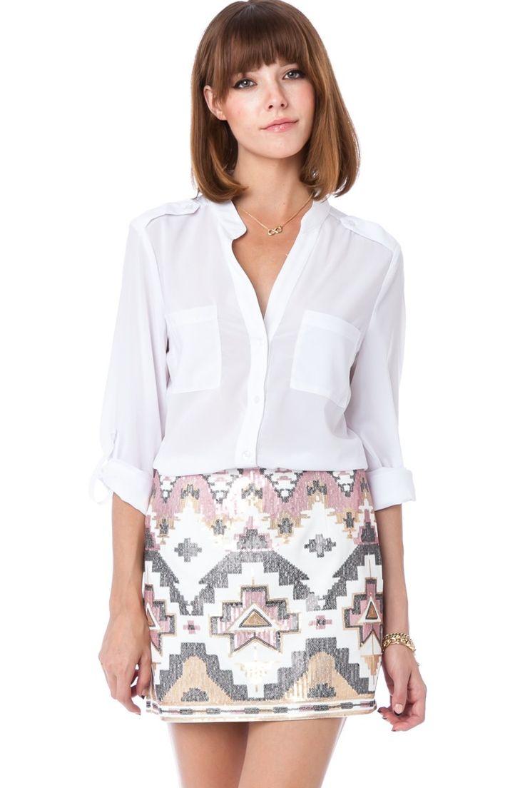 ShopSosie Style : Dominique Sequin Skirt