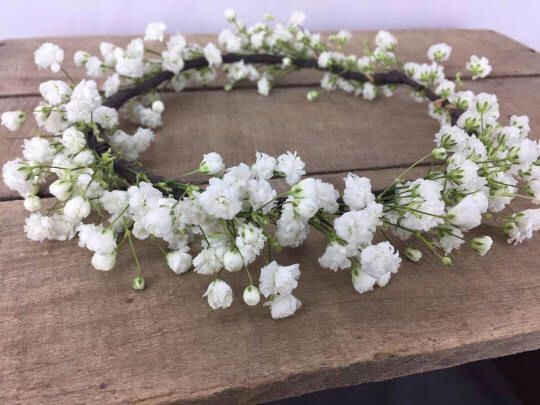 Fresh petite Baby's breath flower crown, babys breath crown, flower crown, Flower girl crown, photo prop, small crown, wispy crown, crowns by AtMeadowsEdge on Etsy https://www.etsy.com/listing/558043049/fresh-petite-babys-breath-flower-crown