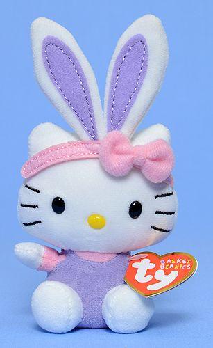 TY Basket Beanies Hello Kitty 6 inch Purple Ears~