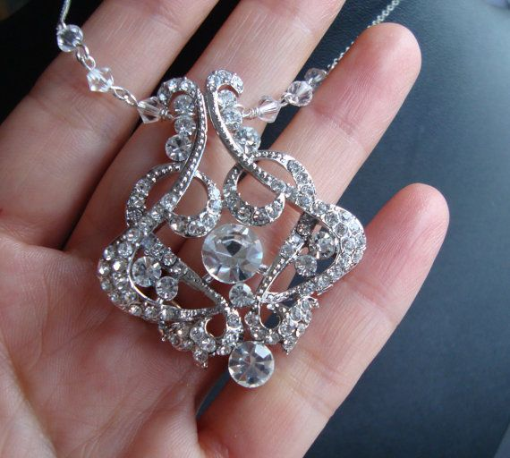 Rhinestone Necklace Art Deco Crystal Bridal Necklace by luxedeluxe, $65.00