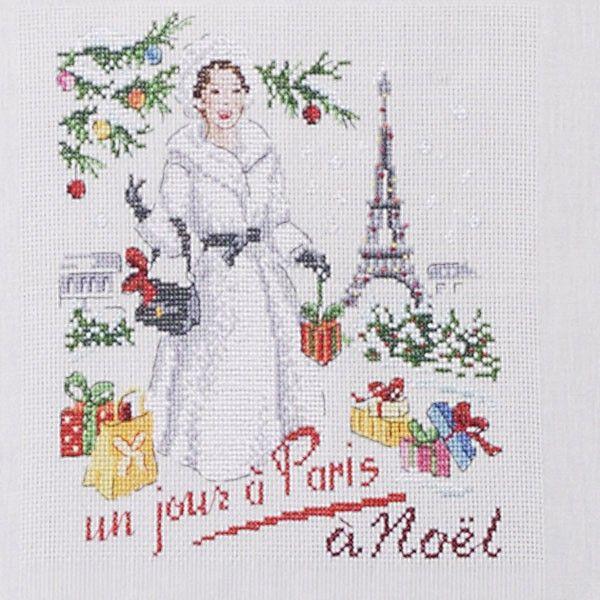 Aïda : Torchon « Un jour à Paris à Noël » à broder au point de croix
