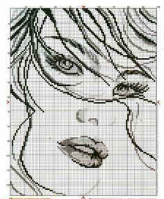0 point de croix portrait fille - cross stitch girl portrait