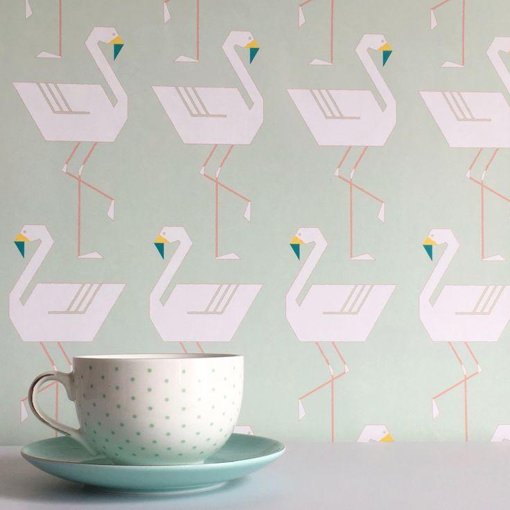 Flamingos In A Line wallpaper in Mint! Nursery and Kids wallpaper