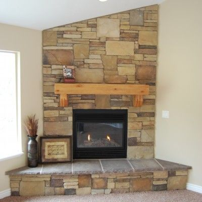 Corner Fireplace Black Insert Light Wood Mantel Floor
