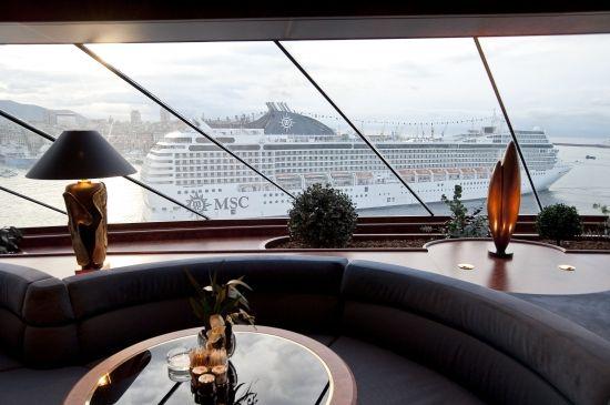 #YachtClub view - sister ship #MSCOrchestra sails past #MSCSplendida