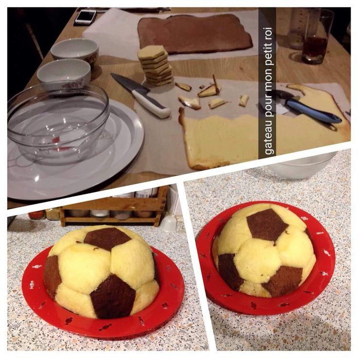 Gâteau ballon de foot pour mon fils :)