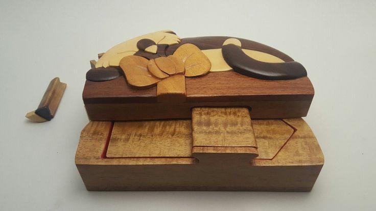 Vintage Carved Cat Wood Art Puzzle Hidden Compartment