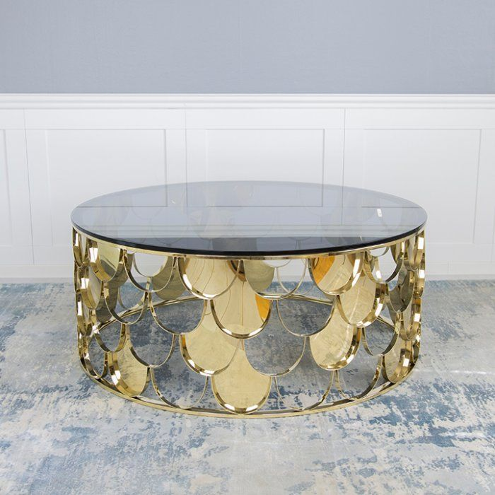 Gatsby Coffee Table Gold Grey Glass Top In 2020 Gold Coffee Table Round Glass Coffee Table Grey Glass