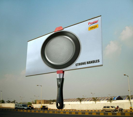 This billboard ad was designed for Prestige Omega Cookware and it portrays a strong handle of Prestige cookware.
