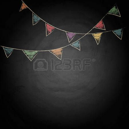 chalk: Chalkboard background with drawing bunting flags. Vector texture