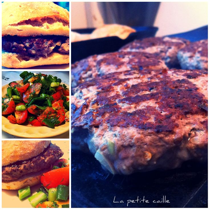 Home made burger  http://lapetitcaille.blogspot.ro/2013/12/hamburger-cu-salata-de-rosii.html