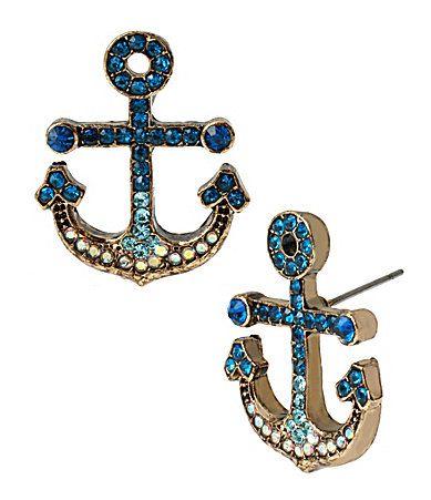 Betsey Johnson Pav Anchor Stud Earrings #Dillards