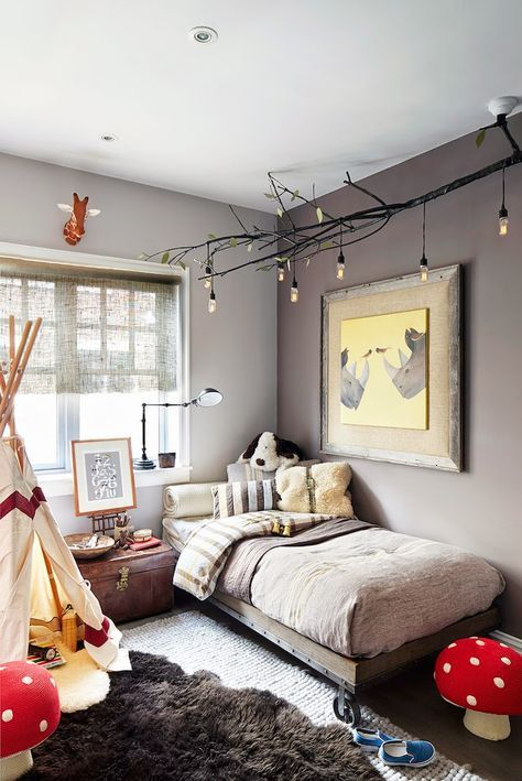 whimsical, grey little boys room