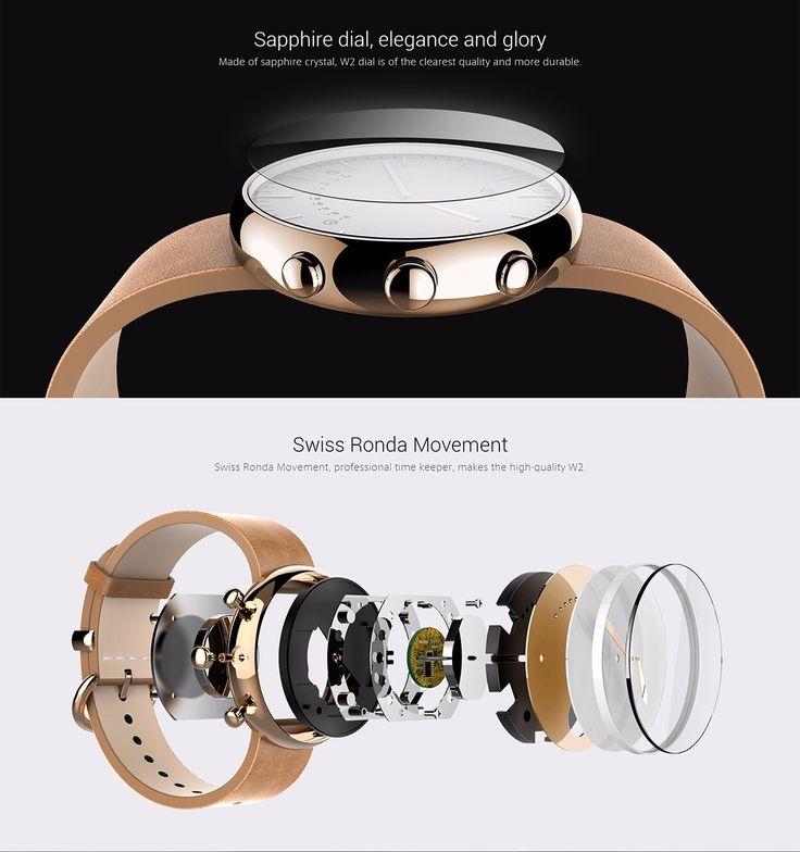 US Direct   Elephone W2 Bluetooth 4.0 IP53 Pedometer Camera Remote Classic Smartwatch