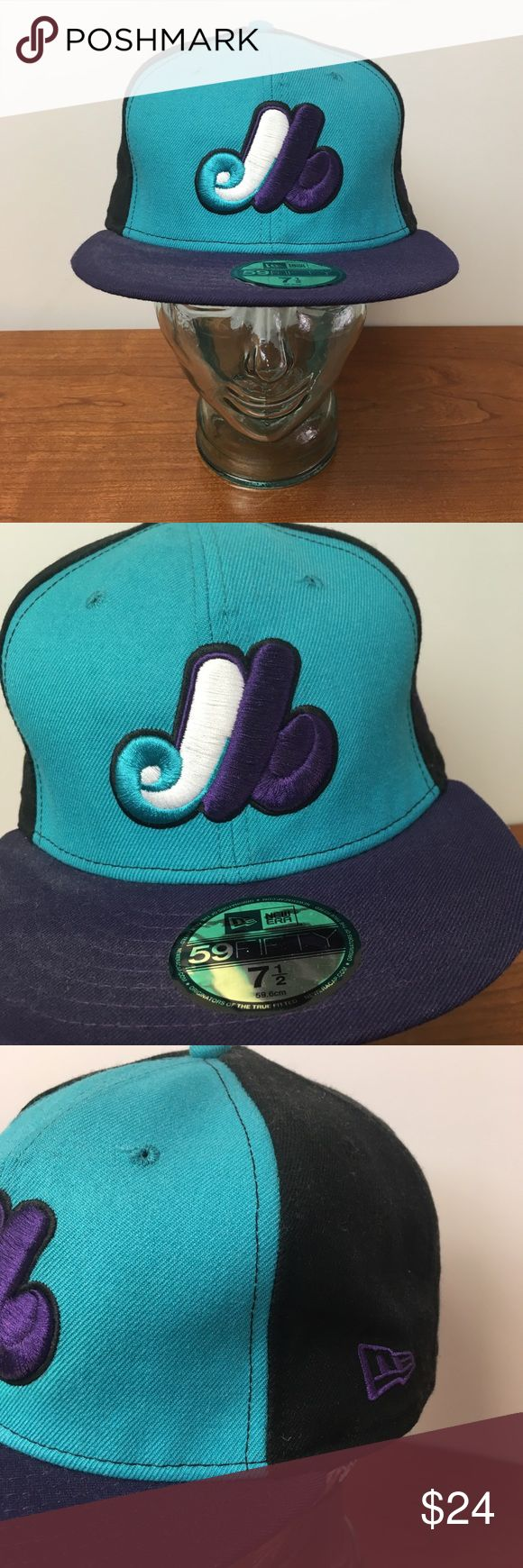 New Era Montreal Expos Baseball Hat Cap 7 1/2 A nice color way to honor the legacy of the Expos Perfect for the Washington Nationals fan Excellent condition with plenty of innings left.  Trusted New Era Quality   Smoke and pet free storage  Happy to answer any questions    Thanks for looking New Era Accessories Hats