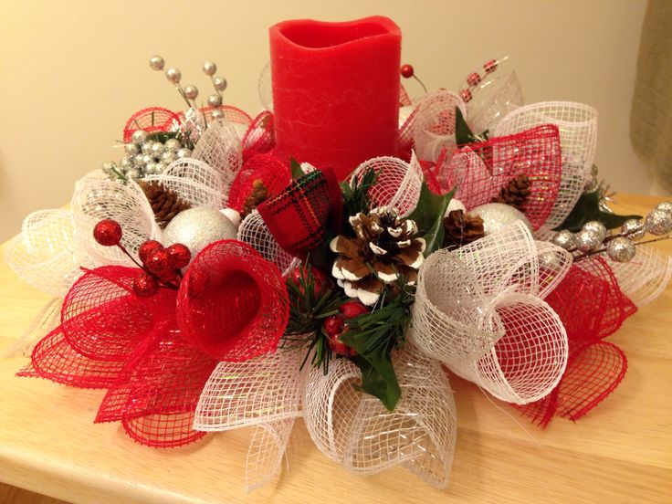 Centerpiece with Christmas decorations. http://www.susiesdesigns.net