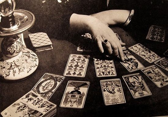 reading the cards...my grandmother used regular playing cards...not tarot