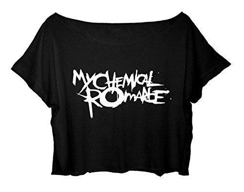 Women's Crop Top My Chemical Romance Shirt Rock Band MCR T-shirt (Black)