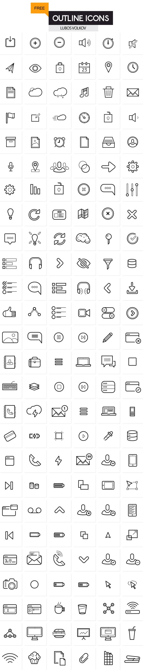 Outline Icons Set (200 free icons) #vectoricons #outlineicons #freeicons #iconsfordesigners