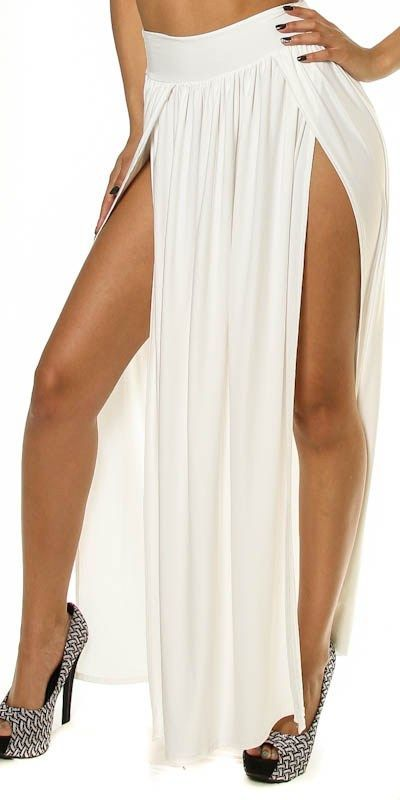 Bella White Cocaine Double Slit Skirt