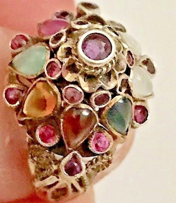 Antique Princess Ring Thailand Multi Gemstone Dome Early 1960s Size 7 Dome Princess Ring Gemstones Silver Ruby Ring