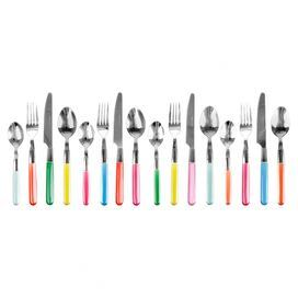 Add a pop of colour to your kitchen with this colourfully miss matched cutlery set. The perfect complement to your modern kitchen or romantically rustic table spread, it teams perfectly with white porcelain crockery and coloured glass goblets.   Product: 4 Forks 4 Knives4 Teaspoons 4 TablespoonsConstruction Material: Metal and plasticColour: Pink, blue, orange, gren, red, yellow and silverDimensions: 22.5 cm H x 9 cm W x 9 cm D (overall)