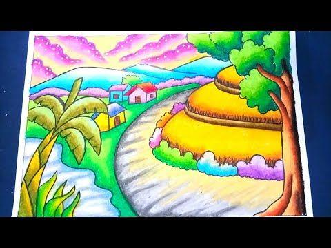 Menggambar Dan Mewarnai Pemandangan Alam Sawah 2 Dengan Gradasi