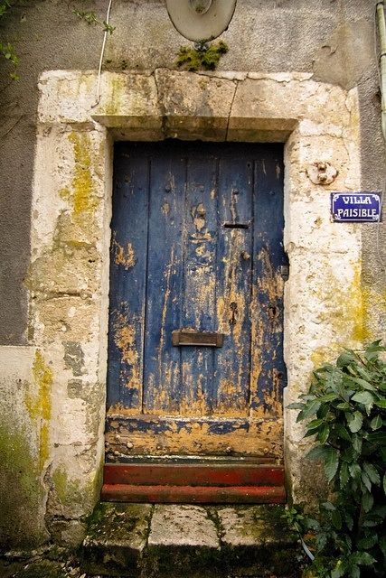 Centuries-old door in the Loire Valley, France