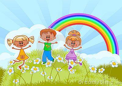 Smiling children jumping on flowering field