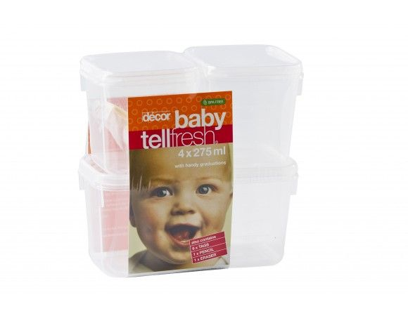 Baby Tellfresh®, set of 4, 275 ml (usable capacity 310 ml)These handily sized storers are clearly marked with graduated measurements so meals can be accurately packed according to baby's age and needs. Can be stored in the fridge or freezer and are microwave reheatable. Each set includes Tellfresh® tags, a pencil and eraser, together with a booklet of simple, healthy recipes for babies of different ages.