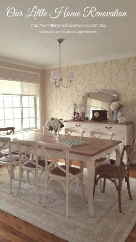 French Provincial style Dining room with wallpaper crossback chairs white furniture hydrangeas chandelier