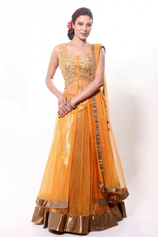 Pretty orange and gold sheer lehnga perfect for Indian wedding Sangeet by Ethniche on http://indianweddingsite.com/blog/2013/10/indian-bridesmaids-wedding-fashion-by-ethniche/