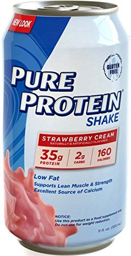 Pure Protein 35g Shake  Strawberry Cream 11 ounce 12 count ** To view further for this item, visit the image link.