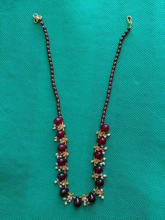 Ruby and pearl neckles Price: 700 #elegantfashionwear #ruby #pearl #neckles…