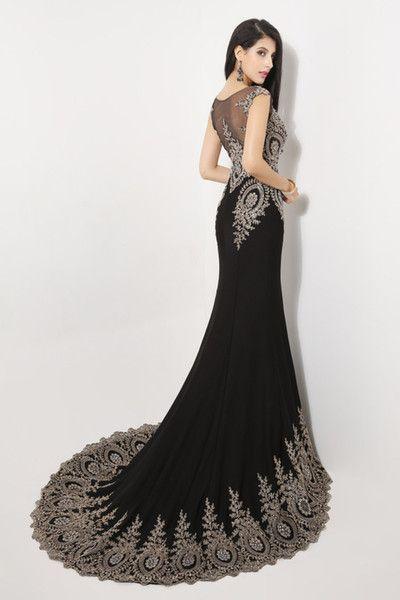 Vestidos de fiesta de cristal baile sexy sirena con encaje pura espalda 2015 negro en STOCK joya cuentas vestidos de noche formales vestidos para las mujeres 2014