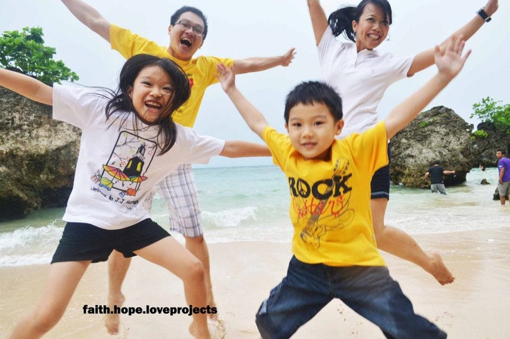 Happy Family at Padang-Padang Beach Bali