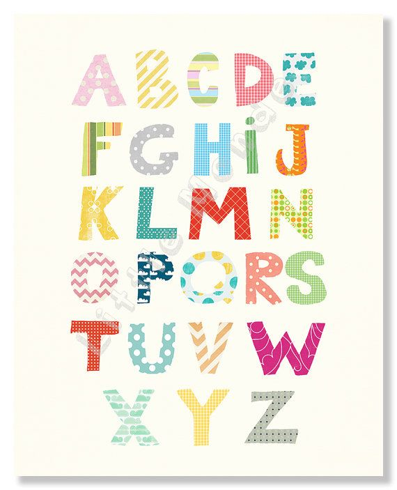 Modern Nursery Prints, Nursery Alphabet Print, Baby Boy Nursery Prints, by LittleMonde, $16.00