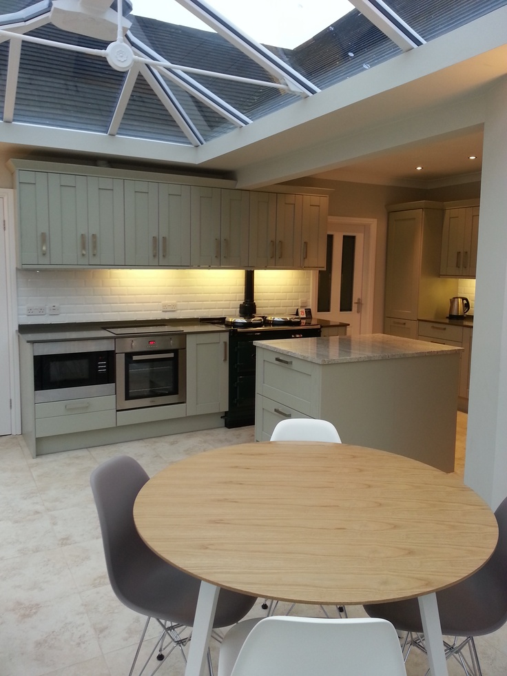 Kashmirwhite Granite Worktops In Open Plan Kitchen Conservatory With Dining Space Kitchen