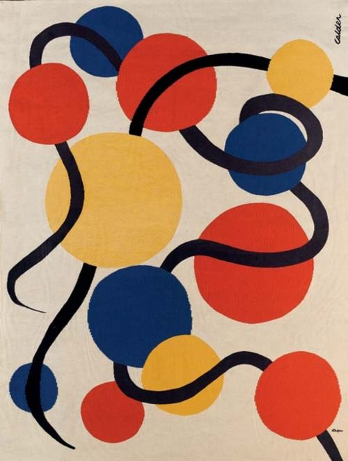 Les Vers Noirs No. 23, Tapisserie D'Aubusson.Tapestry by Alexander Calder. Found here (via gilliflower).
