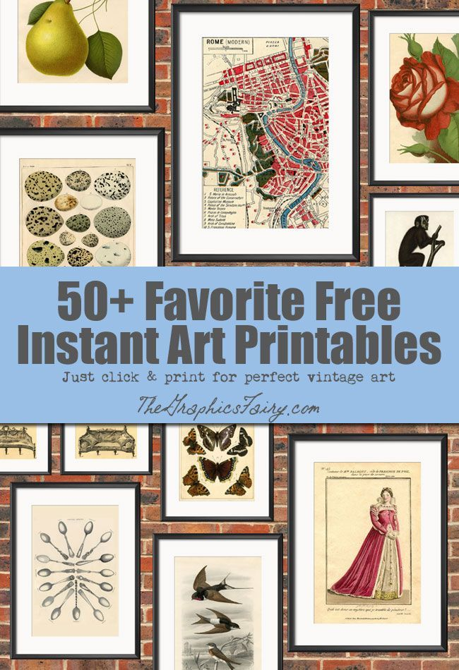 50 Free Wall Art Printables! Loads of free Printables so that you can DIY your own Wall Decor!