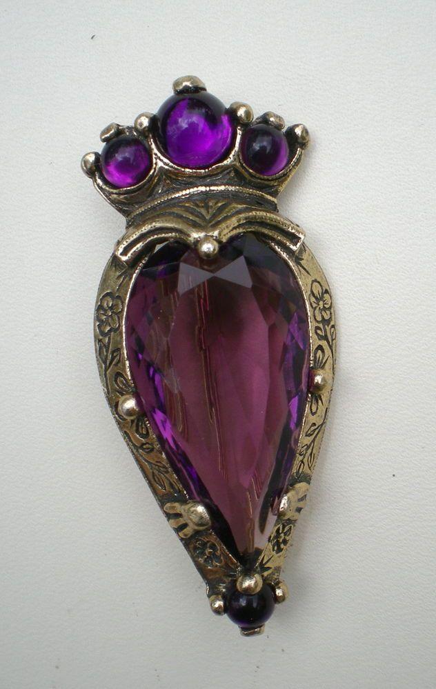Vintage Signed Miracle Kilt Pin Scottish Crown Heart Amethyst Purple Rhinestone