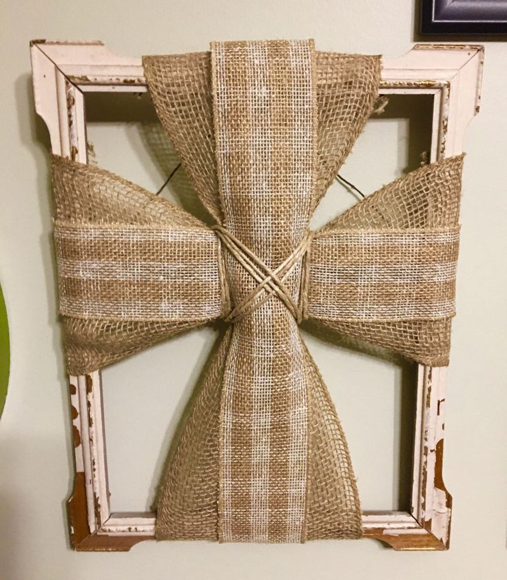 Burlap Cross Picture Frame, Distressed Picture Frame Cross by BurlapnBowsDesign on Etsy https://www.etsy.com/listing/495466923/burlap-cross-picture-frame-distressed