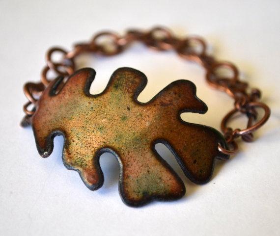 #folksy #boho #Earthy jewelry  Oak Leaf Enameled Bracelet by SailorStudio on Etsy, $25.00