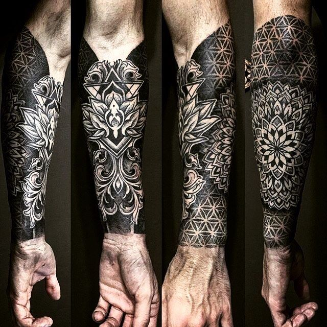 Geometric mandala half-sleeve tattoo by @stonedblack. #underratedink…
