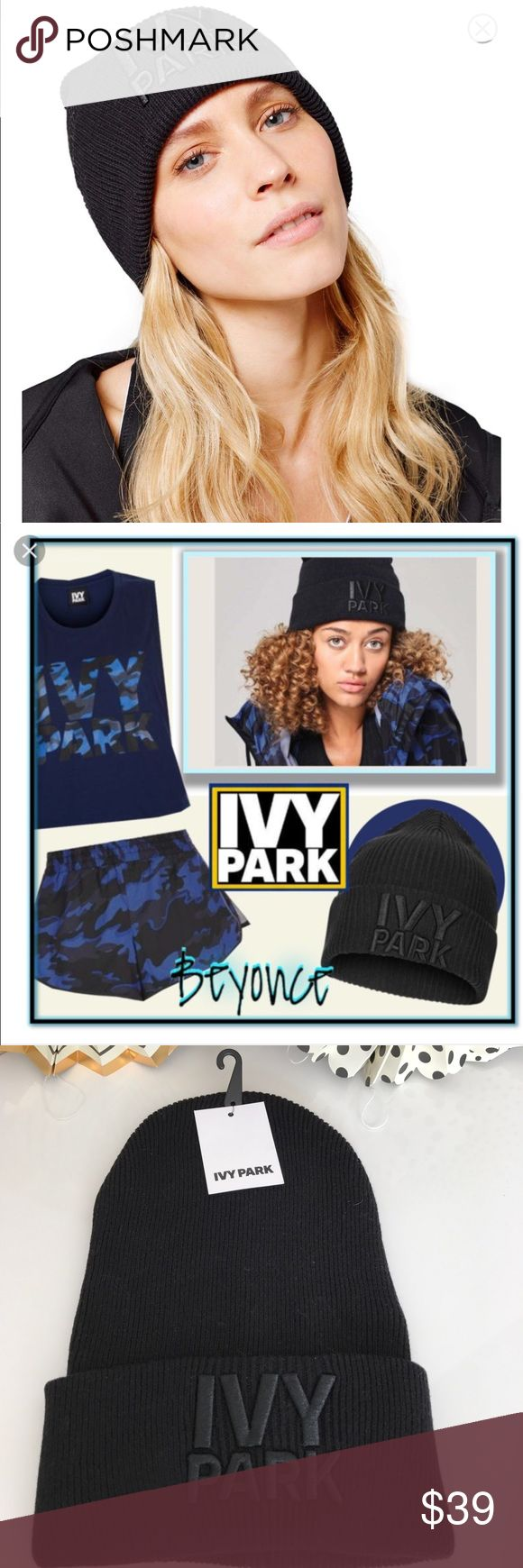 NWT Ivy Park Beanie Beyoncé Ribbed Thermal Hat ☃️ DETAILS & CARE A Black rib-knit beanie packs minimalist, everyday sports-cool style with a wide turn-back hem and large embroidered logo. 100% cotton. Hand wash cold, dry flat. By IVY PARK; imported. Brand new with Tags ivy park Accessories Hats