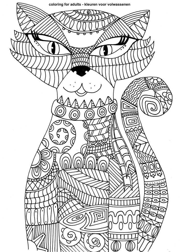 Раскраски антистресс кошки готовые картинки
