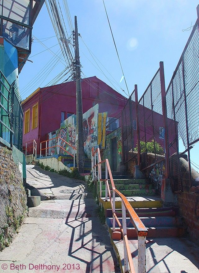 Colorful stairs in Valparaíso