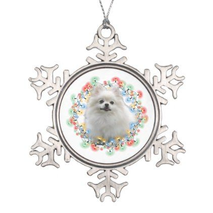 White Pomeranian in Christmas Lights Snowflake Pewter Christmas Ornament - light gifts template style unique special diy