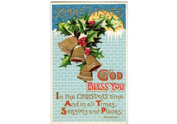 Vintage 1910s Xmas Wishes Religious Postcard God Bless You Charles Dickens Poem