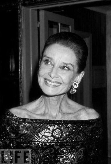 1988, Audrey Hepburn at the 8th Annual Night of Stars Fashion Festival, photograph by Ron Galella